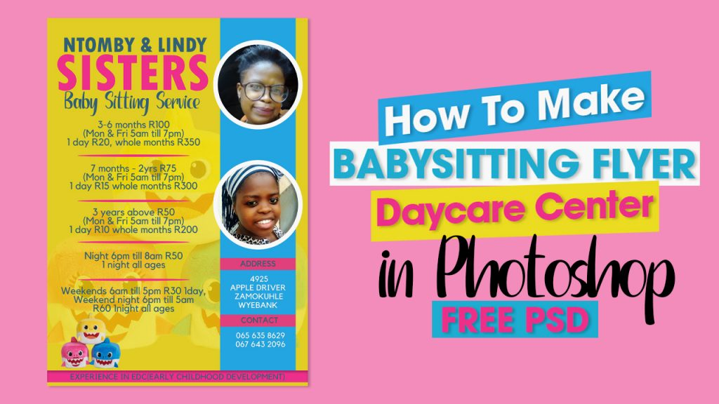 How To Make Babysitting Flyer or Daycare Center in Photoshop